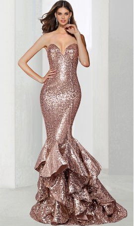 Chic eye-catching strapless sweetheart fitted sequin tiered ruffle mermaid evening prom formal pageant Dress Gown