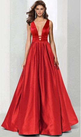 dramaticplunging v neck triple wrapped waist satin ball prom formal evening pageant Dress Gown