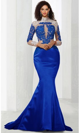 Chic eye-catching constrast beaded lace applique sheer illusion long sleeve satin mermaid prom formal evening pegeant Dress Gown