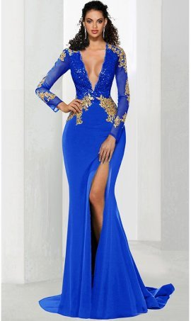 Gorgeous gold lace applique long sleeve high thigh slit jersey prom formal evening pageant Dress Gown