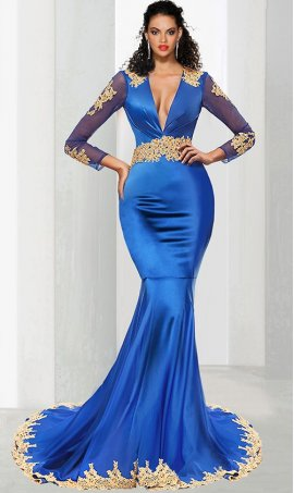 Chic mesmerizing gold lace applique sheer illusion long sleeve satin mermaid prom formal evening pegeant Dress Gown