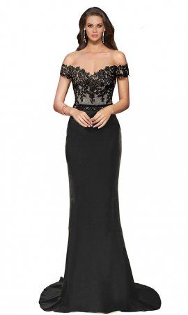 Chic Off the shoulder jersey and lace cap sleeve floor length mermaid formal Dress Gown