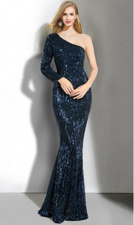 Chic Single one shoulder long sleeve sequins floor length mermaid formal Dress Gown