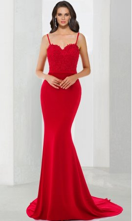 Chic Sweetheart neckline lace jersey spaghetti strap open back floor length mermaid formal Dress Gown