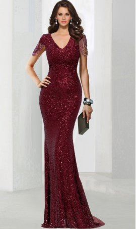 Alluring v neck cap sleeves floor length sequin mermaid prom formal evening pageant Dress Gown