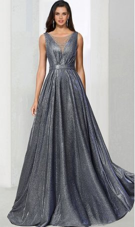 Chic beaded illusion high neck glitter knit a line ball Dress Gown prom formal evening Dress Gown