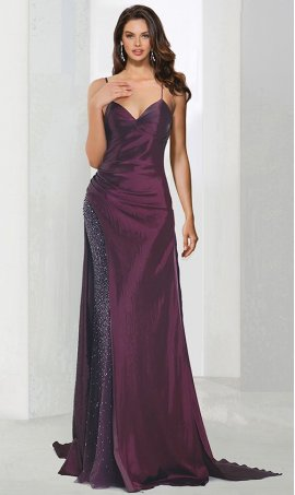 Chic unique design beaded spaghetti straps sweetheart high side slit floor length prom formal evening Dress Gown