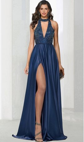 Chic tonal beaded plunging chocker v-neckline high thigh slit prom formal evening Dress Gown