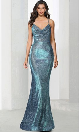 Charming cowl neckline open-back long metallic glitter Prom Formal Evening Dress Gown