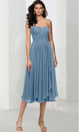 Chic classic ruched strapless sweetheart knee length chiffon bridesmaid prom formal evening party Dress Gown