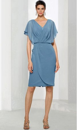Chic flutter sleeves v-neckline short cocktail party Dress Gown