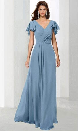 Chic ultra-feminine ruffle flutter sleeves floor length chiffon bridesmaid prom formal evening Dress Gown