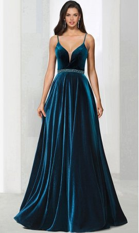 Chic beaded plunging V-neckline A-line velvet ball Dress Gown prom formal evening Dress Gown