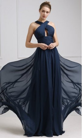Chic crossover halter neckline keyhole front cut out floor length chiffon bridesmaid prom formal evening Dress Gown
