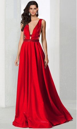 Charming beaded waist plunging v neck a line glitter ball prom formal evening pageant Dress Gown