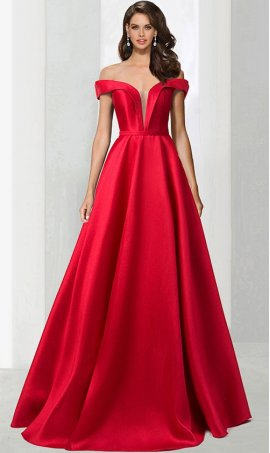 Chic regal off the shoulder a line floor length satin ball Dress Gown prom formal evening Dress Gown