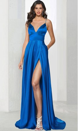 Chic striking spaghetti straps sweetheart high thigh slit satin prom formal evening Dress Gown