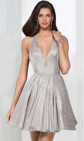 Charming deep v neck criss cross open back glitter satin short party prom homecoming cocktail Dress Gown