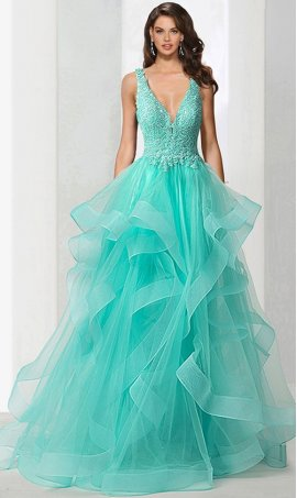 dramaticbeaded lace applique plunging v neckline ruffles layered tiered tulle ball prom formal evening Dress Gown