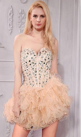 Glittering corset style beaded strapless sweetheart tulle short prom homecoming party cocktail Dress Gown