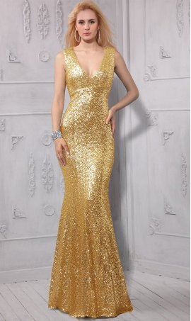 Chic shimmering deep v neck open back floor length sequin mermaid bridesmaid prom formal evening Dress Gown