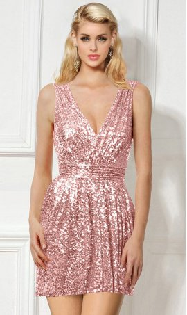 Chic dashing deep v neck ruched short sequin homecoming cocktail party Prom Formal Evening Dress Gown