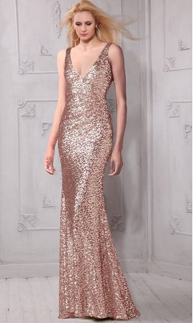 Glittering deep v neck floor length radiant sequin bridesmaid prom formal Dress Gown