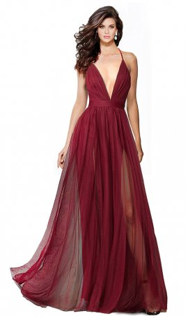 Charming Deep v-Neckline Spaghetti Straps Criss-Cross Open Back Tulle Dual Front Slits Evening Prom Formal Dress Gown