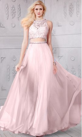 Chic remarkable beaded lace crop top two piece chiffon prom formal evening Dress Gown