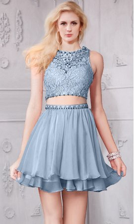 Gorgeous short beaded lace bodice scoop neckline two piece Dress Gown