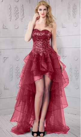 Chic Sparkly weatherart sequin organza tired hi lo high low Prom Formal Evening Dress Gown