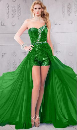 Glittering beaded spaghetti straps sheer chiffon overlay high low hi lo romper prom formal Dress Gown