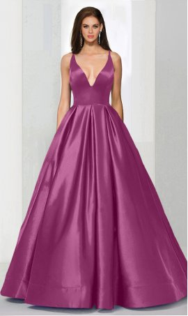 Alluring plunging V-neckline open back a line satin ball Dress Gown Prom Formal Evening Dress Gown
