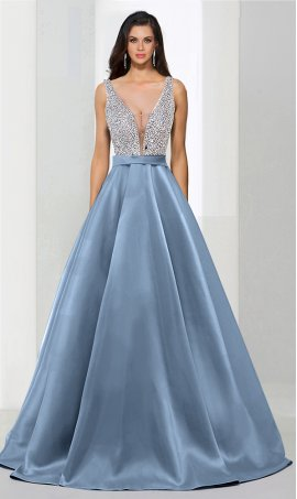 Chic flirty beaded plunging v neck floor-length a line satin prom formal evening Dress Gown