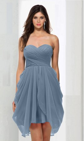 Flawless strapless sweetheart ruched short chiffon bridesmaid prom homecoming party cocktail Dress Gown