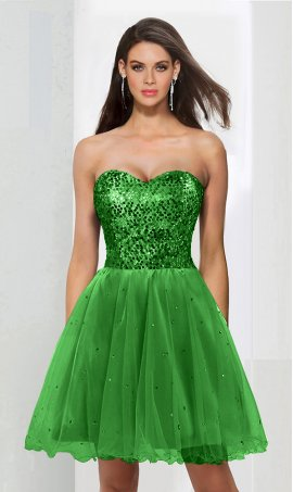 Chic sparky sequined strapless sweetheart a line short sequin tulle cocktail homecoming party graduation Dress Gown