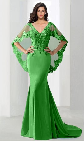 dramaticbeaded lace applique cape sleeve floor length satin mermaid prom formal evening Dress Gown