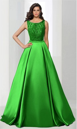 Flawless beaded A-Line square neck floor-length satin ball Dress Gown prom evening Dress Gown
