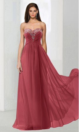 Chic flirty beaded strapless sweetheart a line chiffon prom formal evening pageant Dress Gown