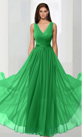Flawless V neck floor length chiffon bridesmaid formal prom evening Dress Gown