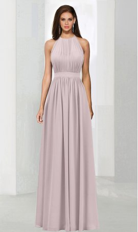 Flawless halter high neck pleated floor length chiffon bridesmaid prom formal evening Dress Gown