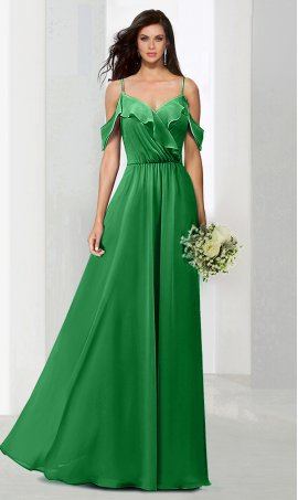 Flawless spaghetti straps ruffled off shoulder bridesmaid evening party prom formal Dress Gown
