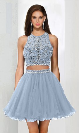 Alluring beaded halter neckline tulle short two piece prom homecoming party Dress Gown