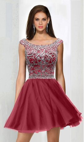 Gorgeous beaded scoop neckline short tulle mini homecoming party prom cocktail Dress Gown