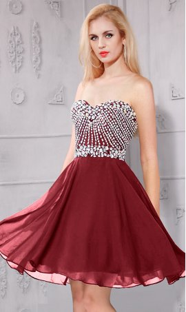 Chic flirt beaded bodice strapless sweetherat short mini A-line chiffon homecoming party Dress Gown