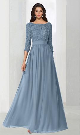 dramaticthree quarter length sleeves lace chiffon long prom formal evening Dress Gown