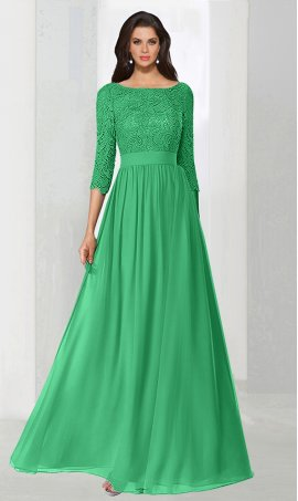 dramaticthree quarter length sleeves lace chiffon long prom formal evening Dress Gown