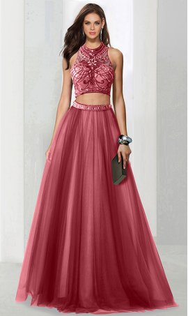 Chic intricate beaded high neck open back two piece tulle ball Dress Gown prom formal evening Dress Gown
