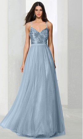 Chic shimmering sequin bodice a line tulle bridesmaid prom formal evening Dress Gown