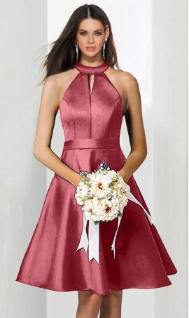Chic glamorous halter choker neckline a line short satin bridesmaid cocktail party Dress Gown